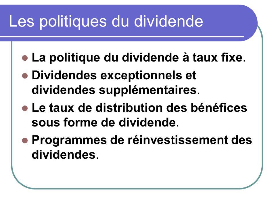 Les politiques du dividende La politique du dividende à taux fixe.