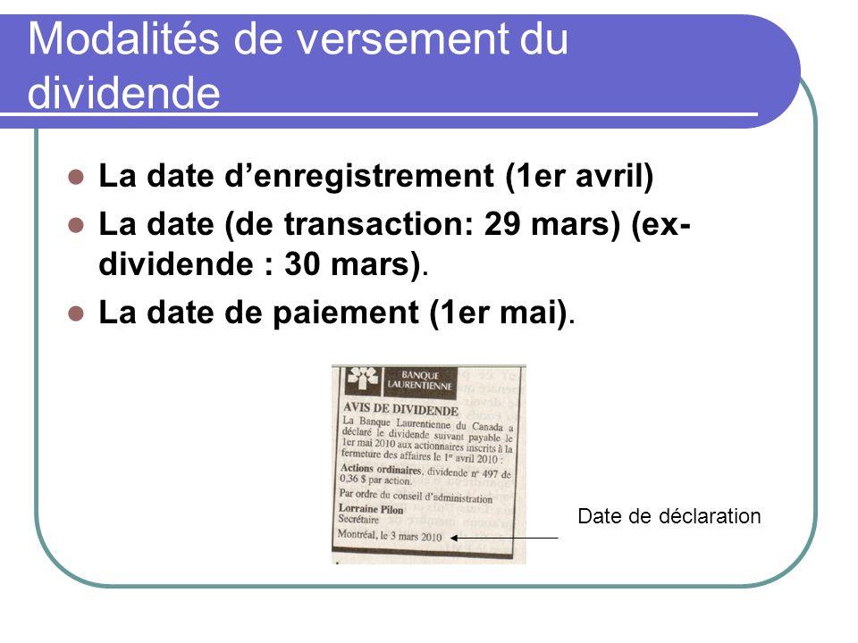 Modalités de versement du dividende La date denregistrement (1er avril) La date (de transaction: 29 mars) (ex- dividende : 30 mars).