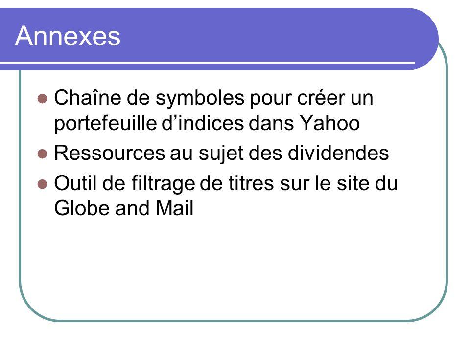 Annexes Chaîne de symboles pour créer un portefeuille dindices dans Yahoo Ressources au sujet des dividendes Outil de filtrage de titres sur le site du Globe and Mail