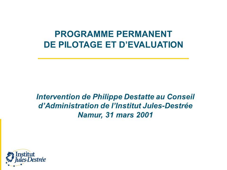 PROGRAMME PERMANENT DE PILOTAGE ET DEVALUATION Intervention de Philippe Destatte au Conseil dAdministration de lInstitut Jules-Destrée Namur, 31 mars 2001