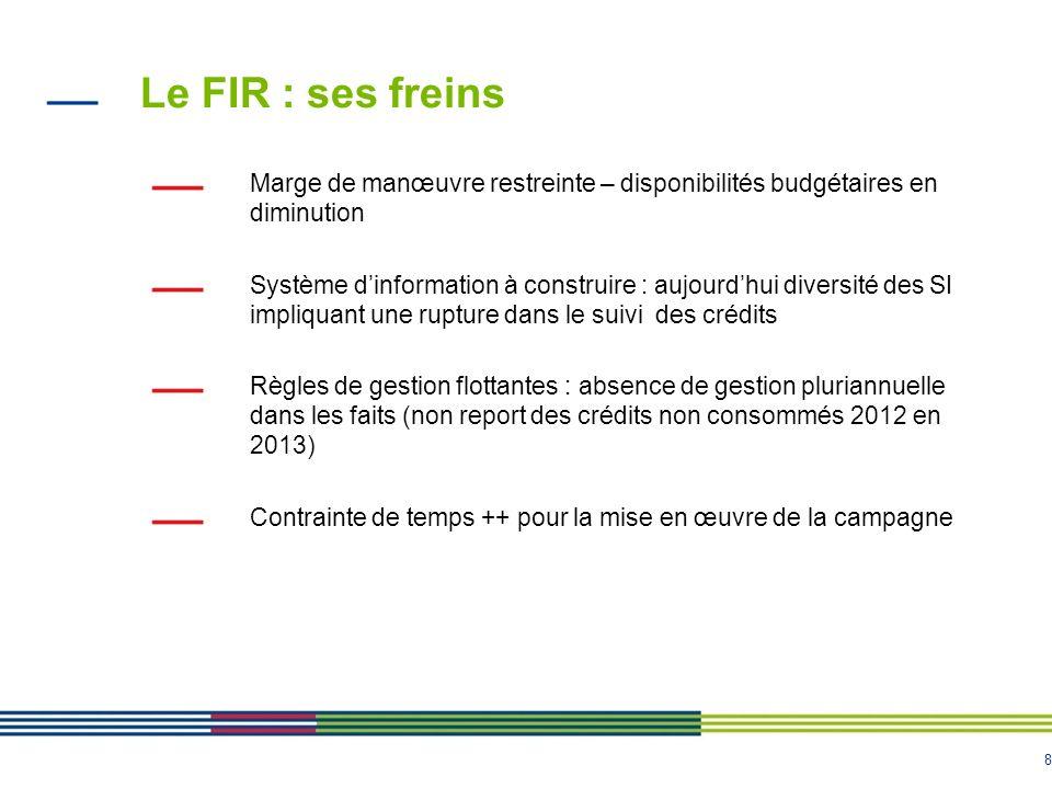 9 Le FIR : la nécessité de stabiliser le dispositif Conforter le rôle et la place des acteurs / limiter le nombre dinterlocuteurs dans la chaine de liquidation du fonds - Pour lARS Ile-de-France : 9 caisses dAssurance Maladie + service financier et comptable de lARS = 10 agents comptables pour 1 région Renforcer les procédures de gestion et de contrôle interne Clarifier les modalités de construction des campagnes Introduire davantage déchanges entre les tutelles et les ARS dans la mesure où le FIR constitue un réel levier pour la mise en œuvre des PRS