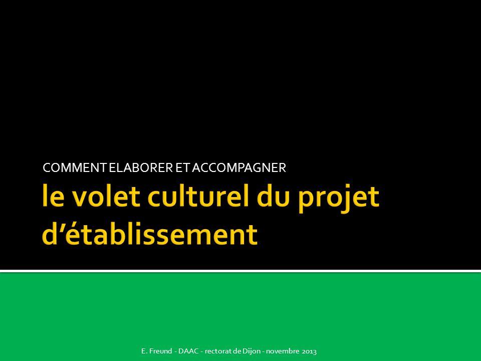 COMMENT ELABORER ET ACCOMPAGNER E. Freund - DAAC - rectorat de Dijon - novembre 2013