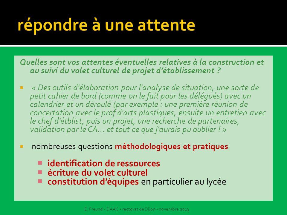 Quelles sont vos attentes éventuelles relatives à la construction et au suivi du volet culturel de projet détablissement ? « Des outils d'élaboration