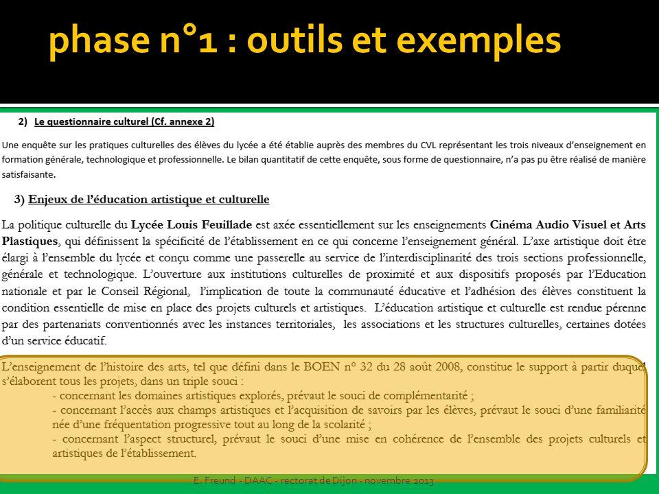 phase n°1 : outils et exemples E. Freund - DAAC - rectorat de Dijon - novembre 2013