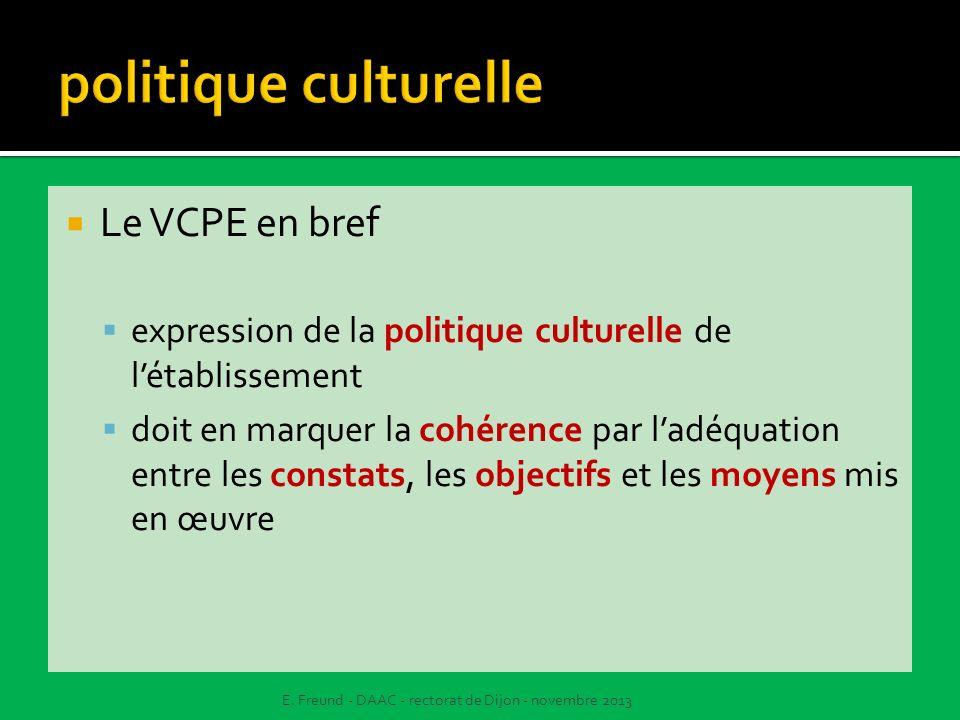 Le VCPE en bref expression de la politique culturelle de létablissement doit en marquer la cohérence par ladéquation entre les constats, les objectifs