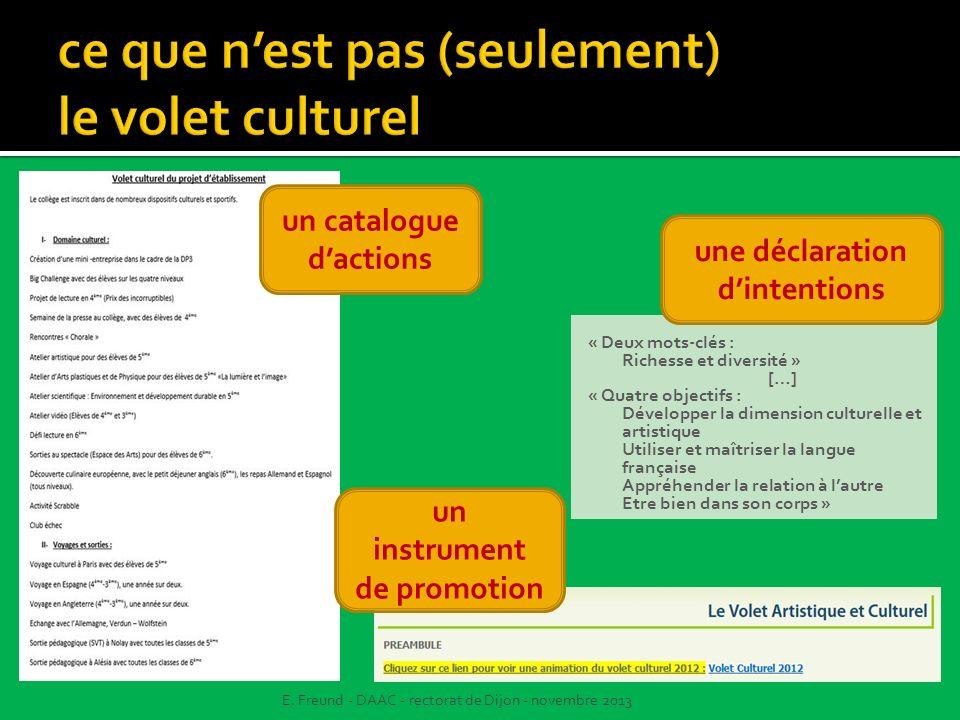 un catalogue dactions E. Freund - DAAC - rectorat de Dijon - novembre 2013 « Deux mots-clés : Richesse et diversité » […] « Quatre objectifs : Dévelop