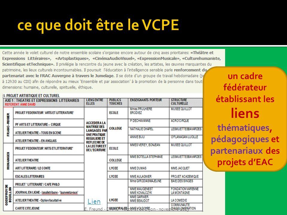 un cadre fédérateur établissant les liens thématiques, pédagogiques et partenariaux des projets dEAC Lien E. Freund - DAAC - rectorat de Dijon - novem