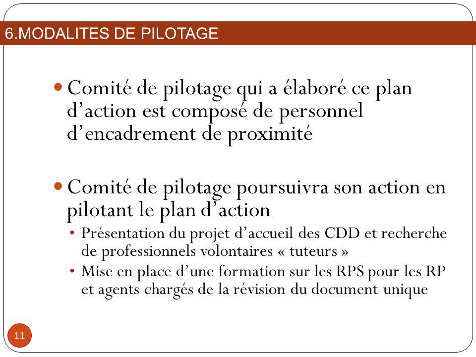 Comité de pilotage qui a élaboré ce plan daction est composé de personnel dencadrement de proximité Comité de pilotage poursuivra son action en pilota