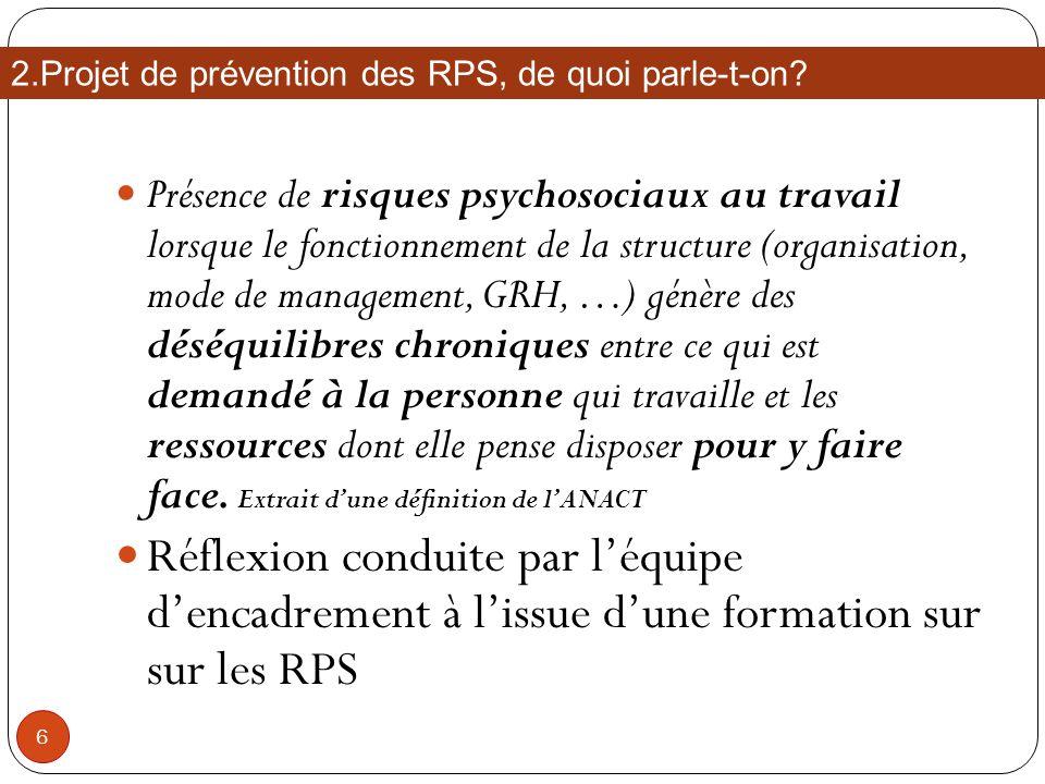 Présence de risques psychosociaux au travail lorsque le fonctionnement de la structure (organisation, mode de management, GRH, …) génère des déséquili