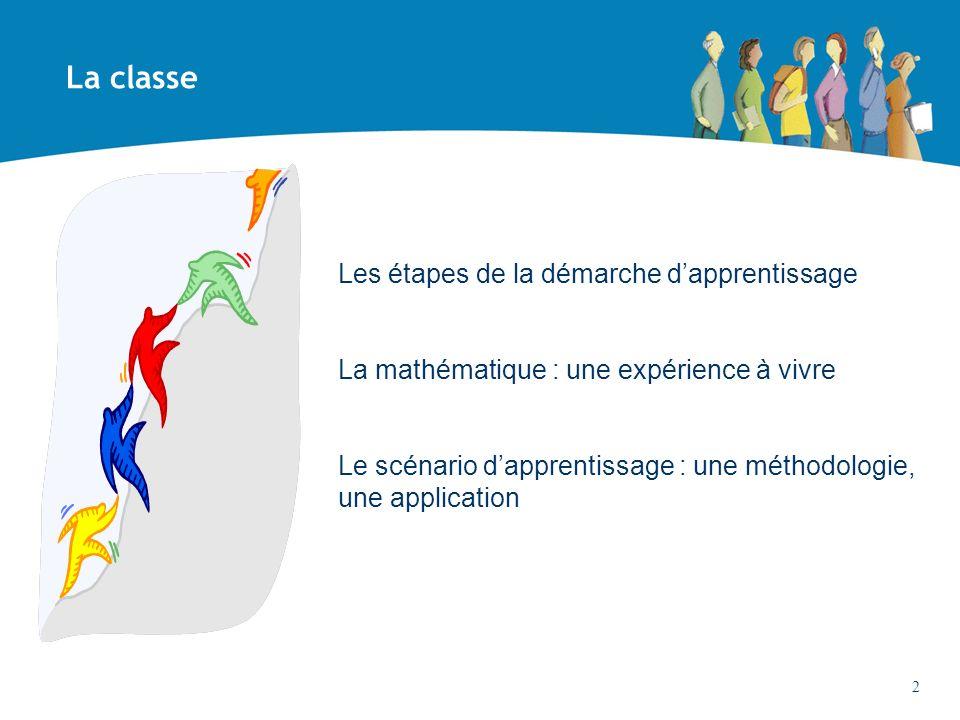 Les étapes de la démarche dapprentissage La mathématique : une expérience à vivre Le scénario dapprentissage : une méthodologie, une application La cl
