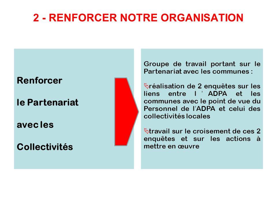 2 - RENFORCER NOTRE ORGANISATION Renforcer le Partenariat avec les Collectivités Groupe de travail portant sur le Partenariat avec les communes : réal