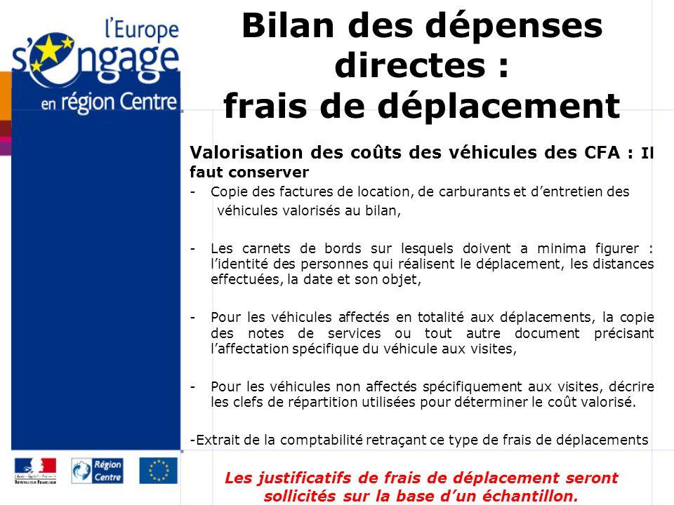 Bilan des dépenses directes : frais de déplacement Valorisation des coûts des véhicules des CFA : Il faut conserver -Copie des factures de location, d