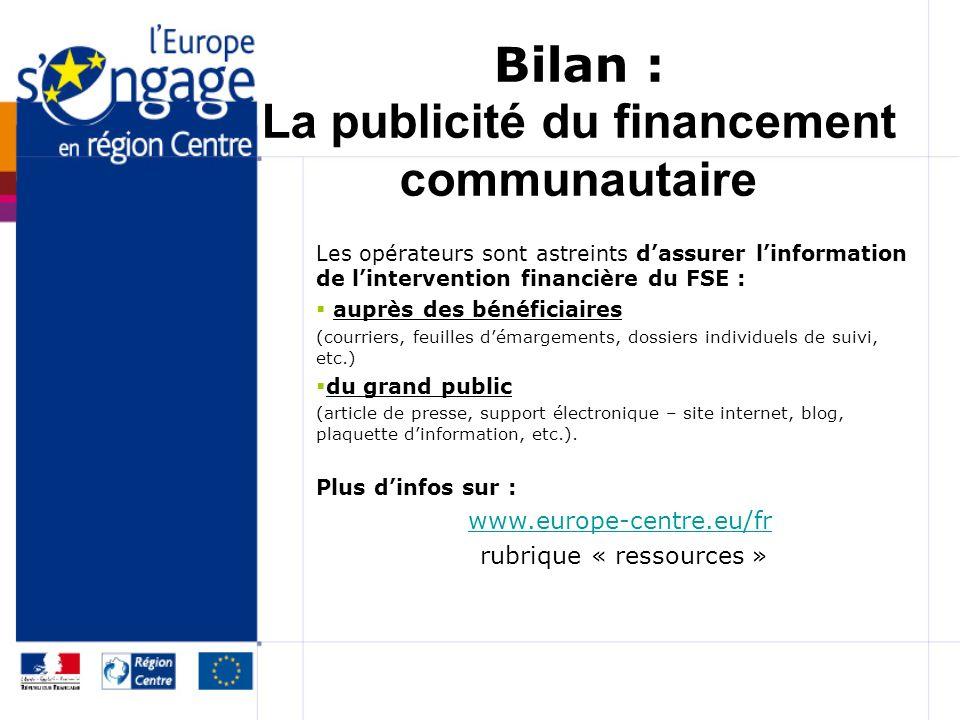 Bilan : La publicité du financement communautaire Les opérateurs sont astreints dassurer linformation de lintervention financière du FSE : auprès des