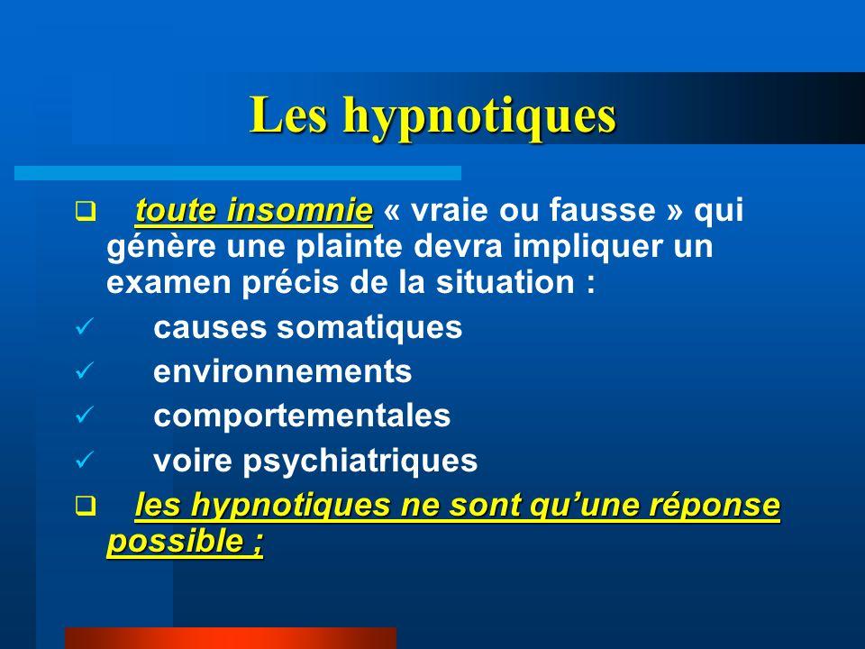 Les hypnotiques toute insomnie toute insomnie « vraie ou fausse » qui génère une plainte devra impliquer un examen précis de la situation : causes som