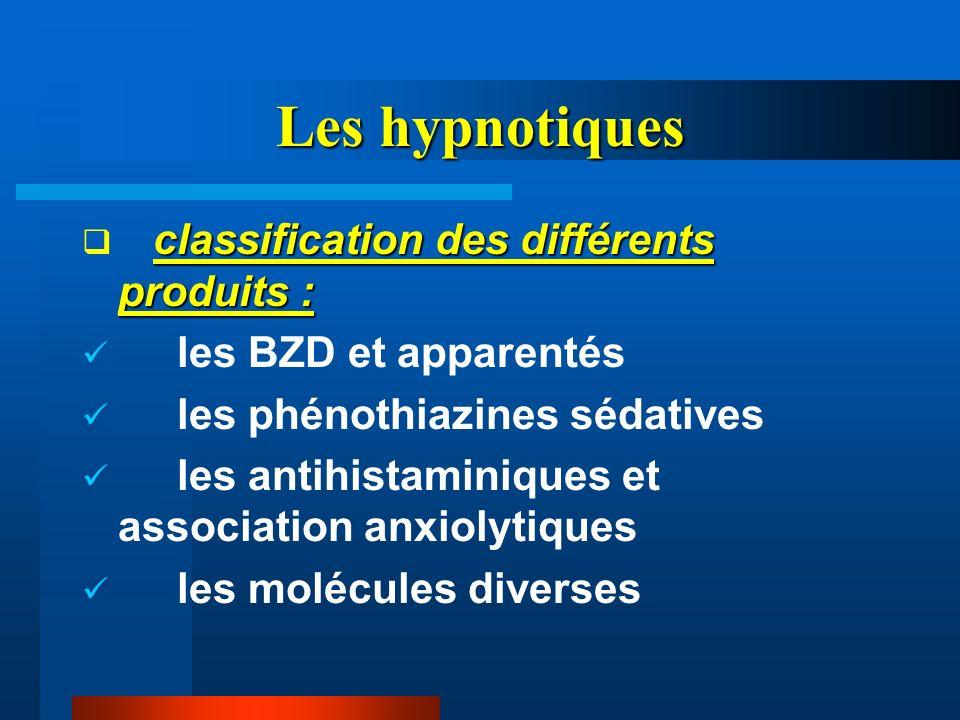 Les hypnotiques classification des différents produits : les BZD et apparentés les phénothiazines sédatives les antihistaminiques et association anxio