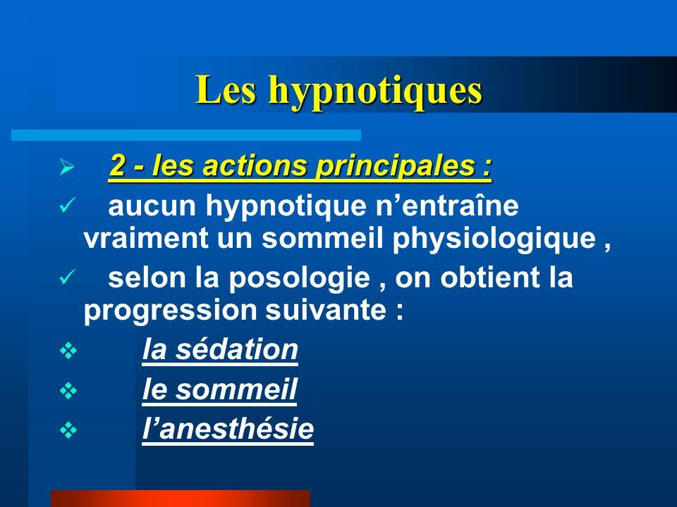 Les hypnotiques 2 - les actions principales : aucun hypnotique nentraîne vraiment un sommeil physiologique, selon la posologie, on obtient la progress