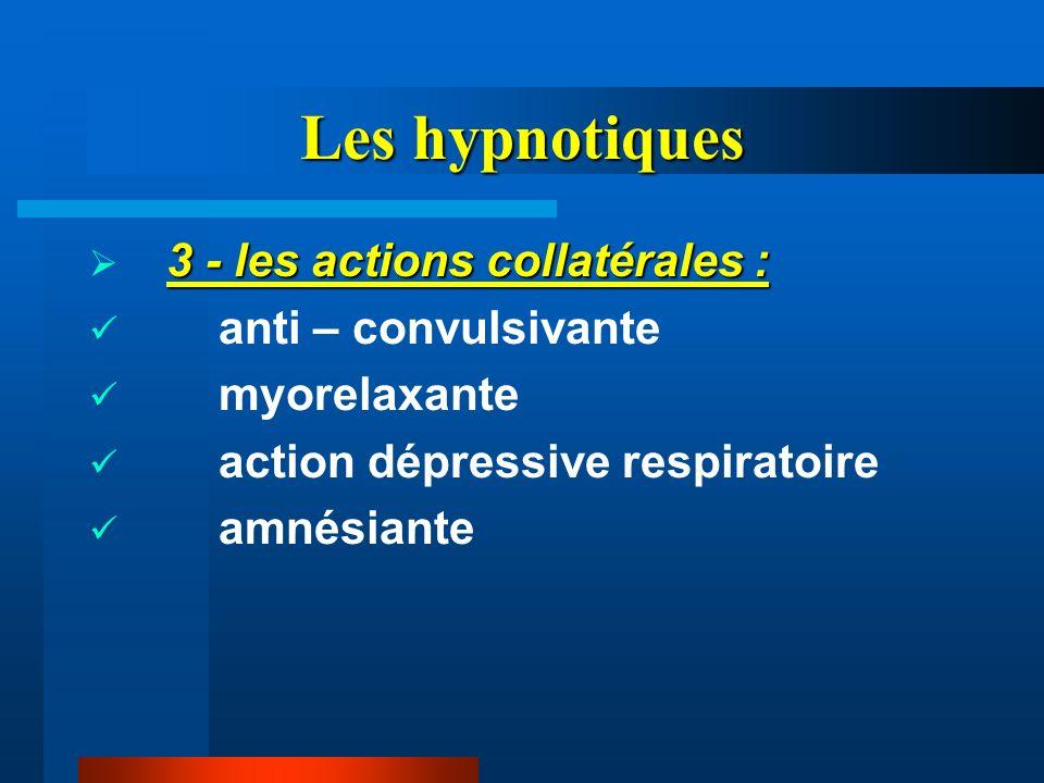 Les hypnotiques 3 - les actions collatérales : anti – convulsivante myorelaxante action dépressive respiratoire amnésiante