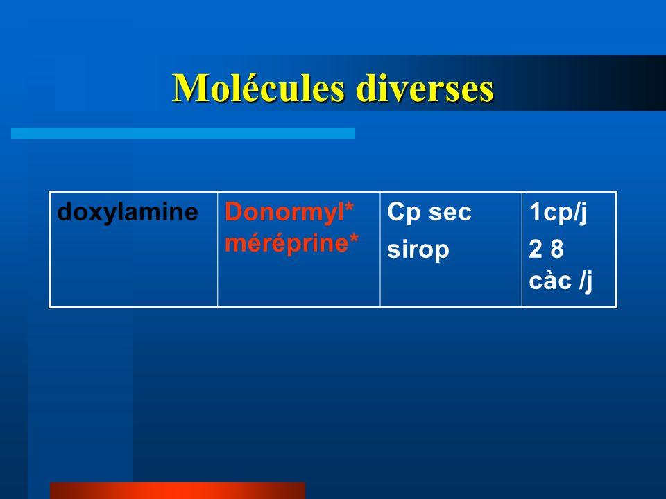 Molécules diverses doxylamineDonormyl* méréprine* Cp sec sirop 1cp/j 2 8 càc /j