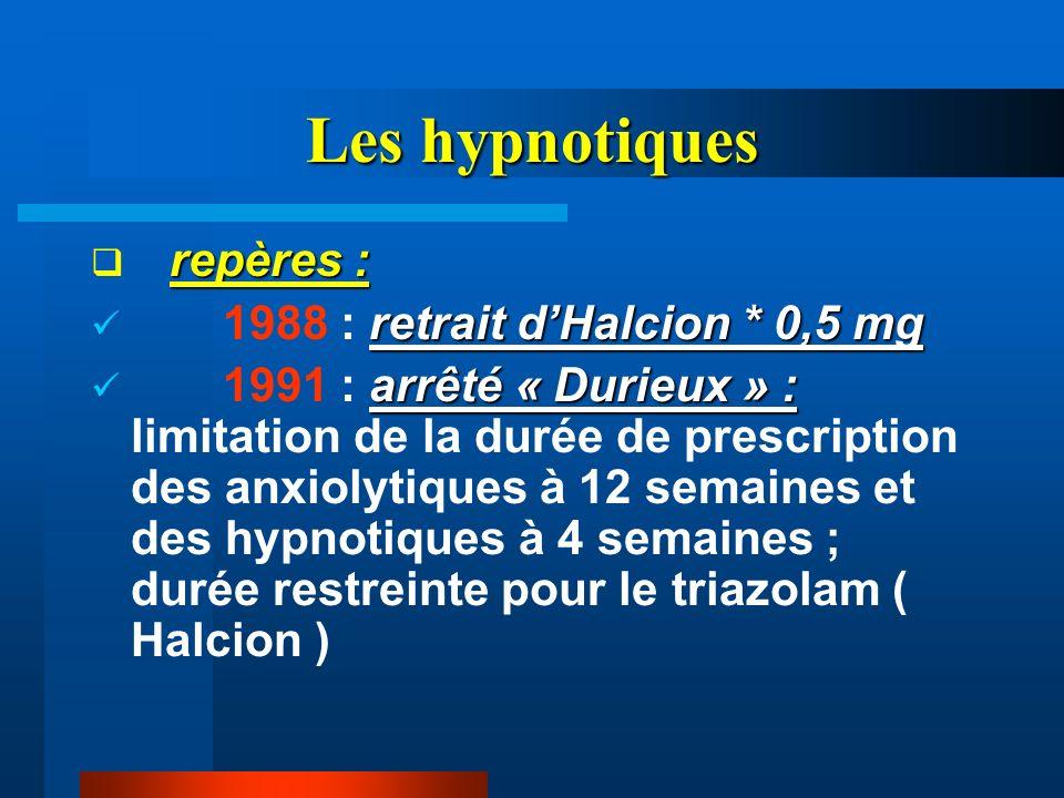 Les hypnotiques repères : retrait dHalcion * 0,5 mg 1988 : retrait dHalcion * 0,5 mg arrêté « Durieux » : 1991 : arrêté « Durieux » : limitation de la