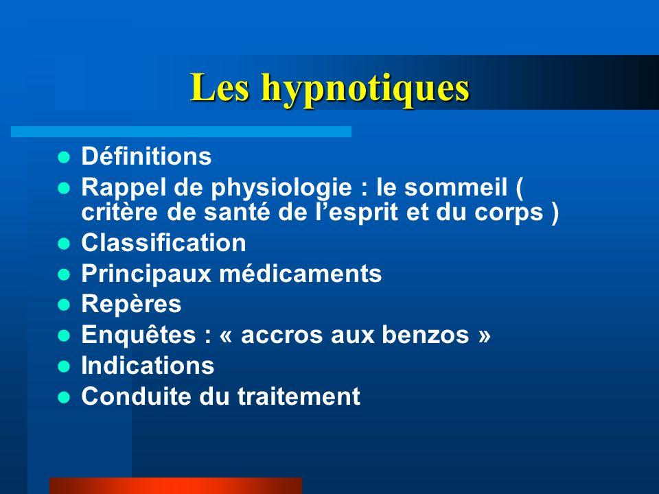 Les hypnotiques Définitions Rappel de physiologie : le sommeil ( critère de santé de lesprit et du corps ) Classification Principaux médicaments Repèr