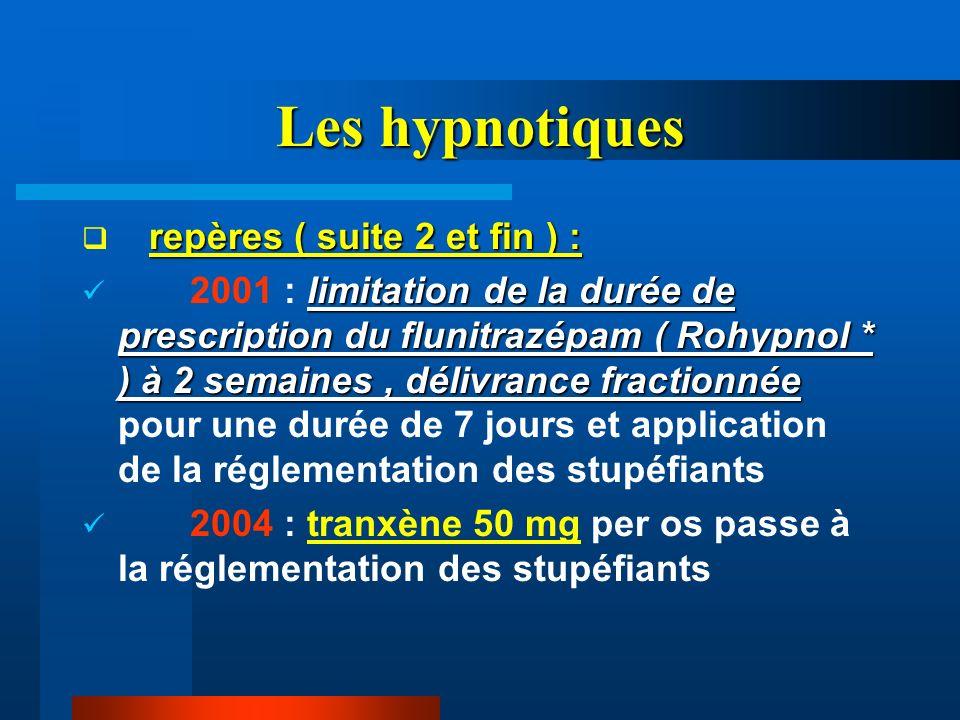 Les hypnotiques repères ( suite 2 et fin ) : limitation de la durée de prescription du flunitrazépam ( Rohypnol * ) à 2 semaines, délivrance fractionn