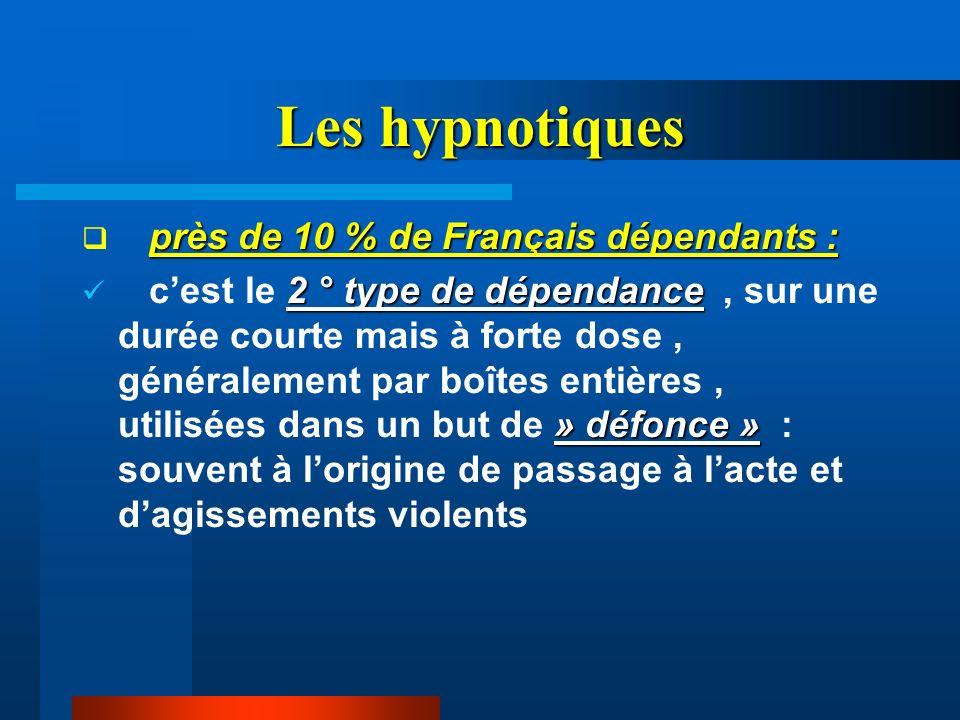 Les hypnotiques près de 10 % de Français dépendants : 2 ° type de dépendance » défonce » cest le 2 ° type de dépendance, sur une durée courte mais à f