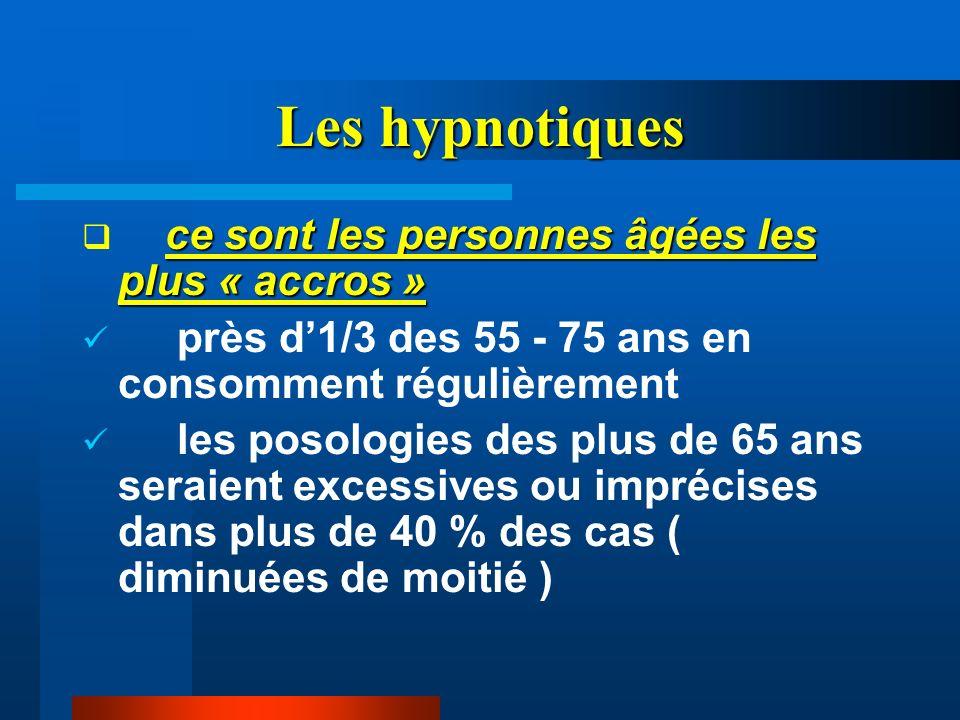 Les hypnotiques ce sont les personnes âgées les plus « accros » près d1/3 des 55 - 75 ans en consomment régulièrement les posologies des plus de 65 an