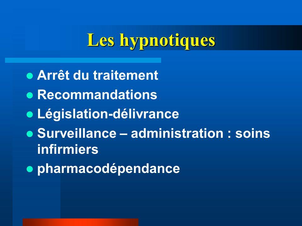 Les hypnotiques Arrêt du traitement Recommandations Législation-délivrance Surveillance – administration : soins infirmiers pharmacodépendance