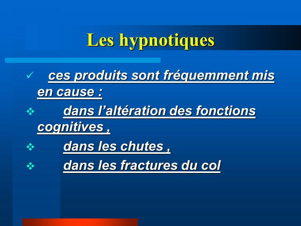 Les hypnotiques ces produits sont fréquemment mis en cause : dans laltération des fonctions cognitives, dans les chutes, dans les fractures du col