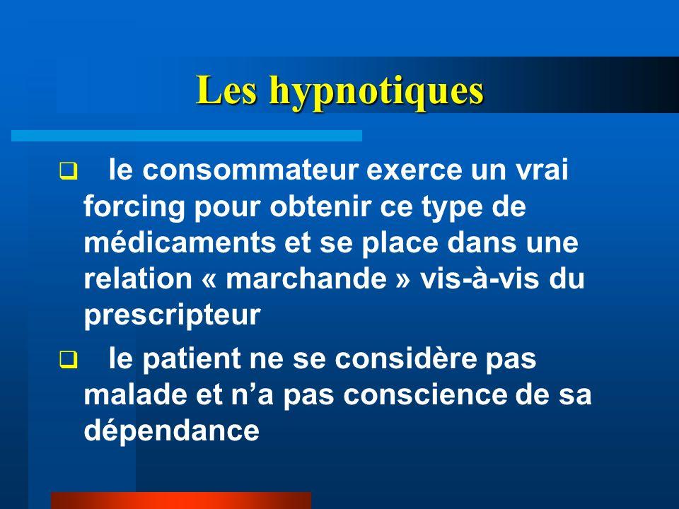 Les hypnotiques le consommateur exerce un vrai forcing pour obtenir ce type de médicaments et se place dans une relation « marchande » vis-à-vis du pr