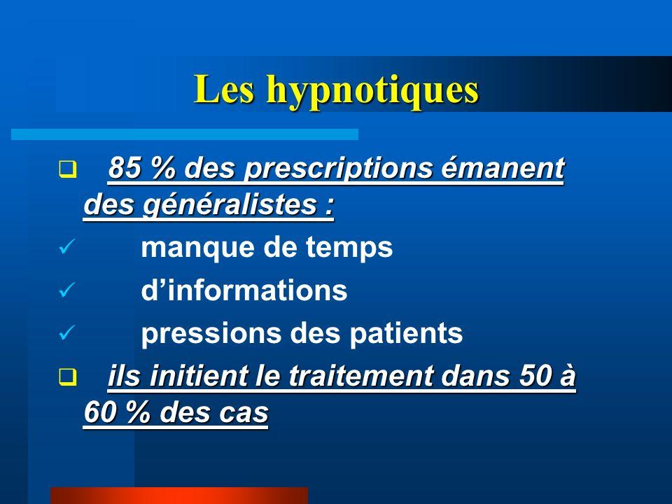 Les hypnotiques 85 % des prescriptions émanent des généralistes : manque de temps dinformations pressions des patients ils initient le traitement dans
