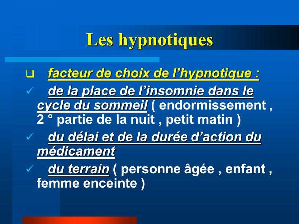 Les hypnotiques facteur de choix de lhypnotique : de la place de linsomnie dans le cycle du sommeil de la place de linsomnie dans le cycle du sommeil