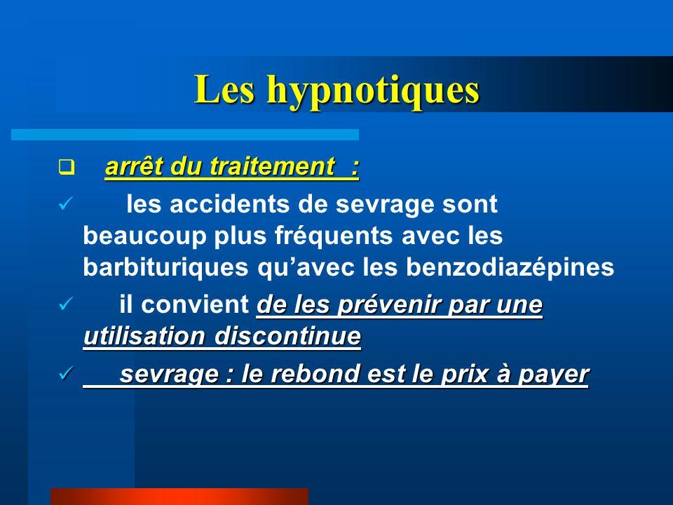 Les hypnotiques arrêt du traitement : les accidents de sevrage sont beaucoup plus fréquents avec les barbituriques quavec les benzodiazépines de les p