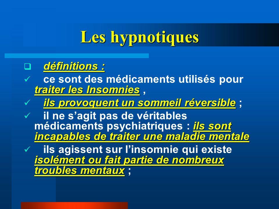 Les hypnotiques définitions : traiter les Insomnies ce sont des médicaments utilisés pour traiter les Insomnies, ils provoquent un sommeil réversible
