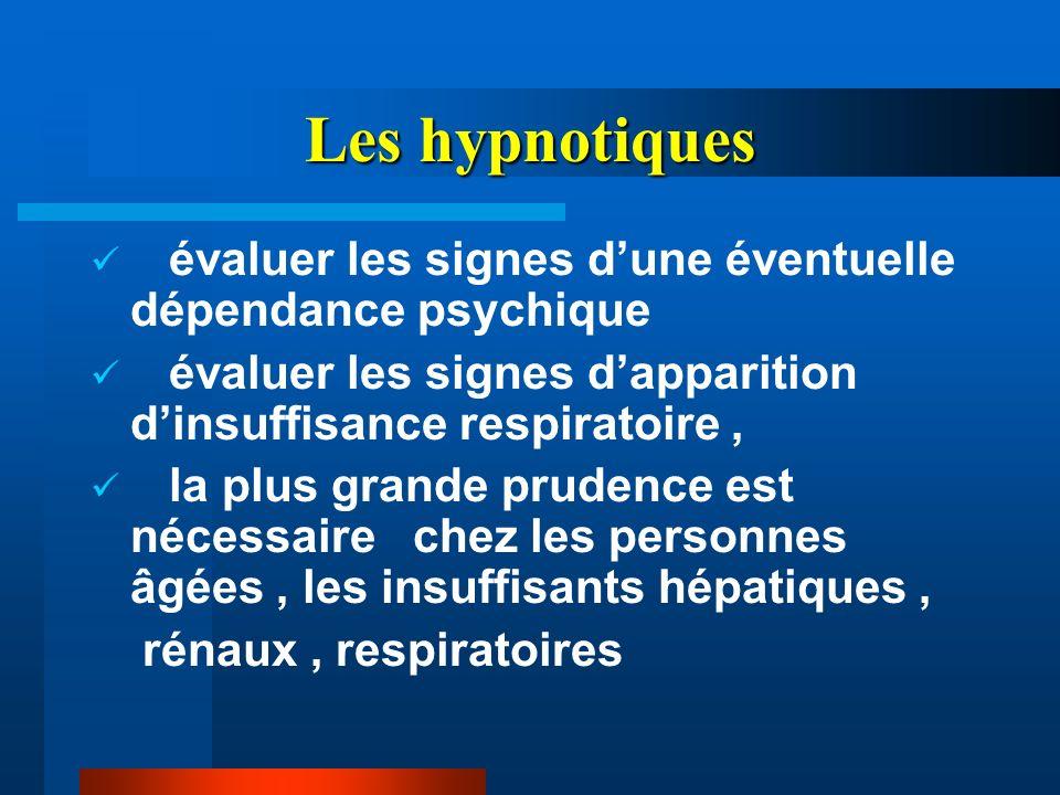 Les hypnotiques évaluer les signes dune éventuelle dépendance psychique évaluer les signes dapparition dinsuffisance respiratoire, la plus grande prud