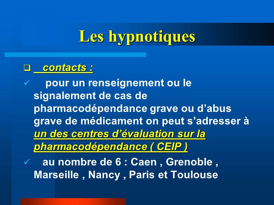 Les hypnotiques contacts : contacts : un des centres dévaluation sur la pharmacodépendance ( CEIP ) pour un renseignement ou le signalement de cas de