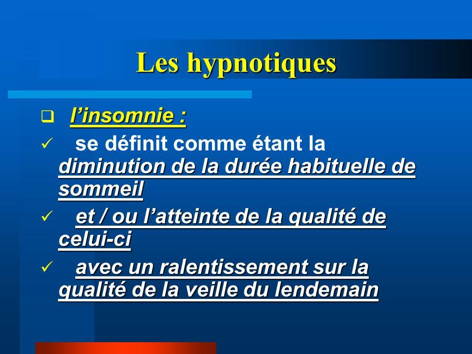 Les hypnotiques linsomnie : diminution de la durée habituelle de sommeil se définit comme étant la diminution de la durée habituelle de sommeil et / o