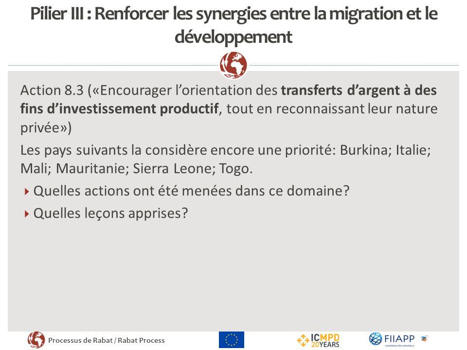 Processus de Rabat / Rabat Process Pilier III : Renforcer les synergies entre la migration et le développement Action 8.3 («Encourager lorientation des transferts dargent à des fins dinvestissement productif, tout en reconnaissant leur nature privée») Les pays suivants la considère encore une priorité: Burkina; Italie; Mali; Mauritanie; Sierra Leone; Togo.