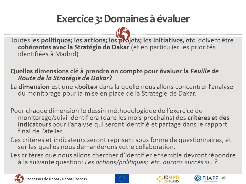 Processus de Rabat / Rabat Process Exercice 3: Domaines à évaluer Toutes les politiques; les actions; les projets; les initiatives, etc.