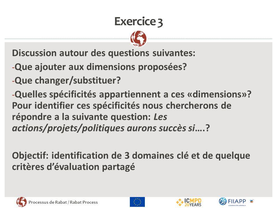 Processus de Rabat / Rabat Process Exercice 3 Discussion autour des questions suivantes: - Que ajouter aux dimensions proposées.