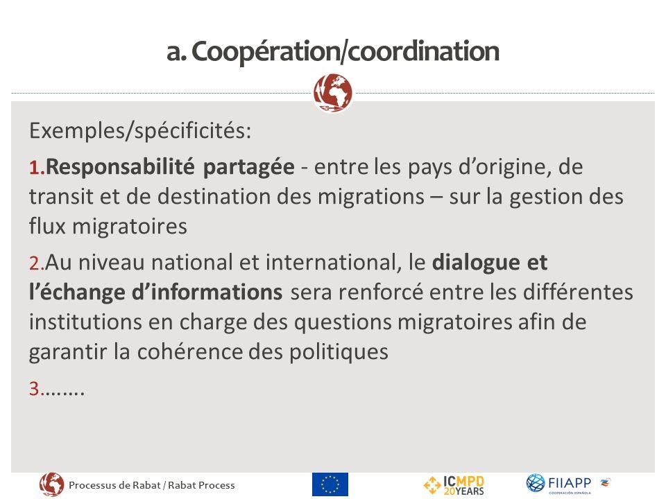 Processus de Rabat / Rabat Process a.Coopération/coordination Exemples/spécificités: 1.