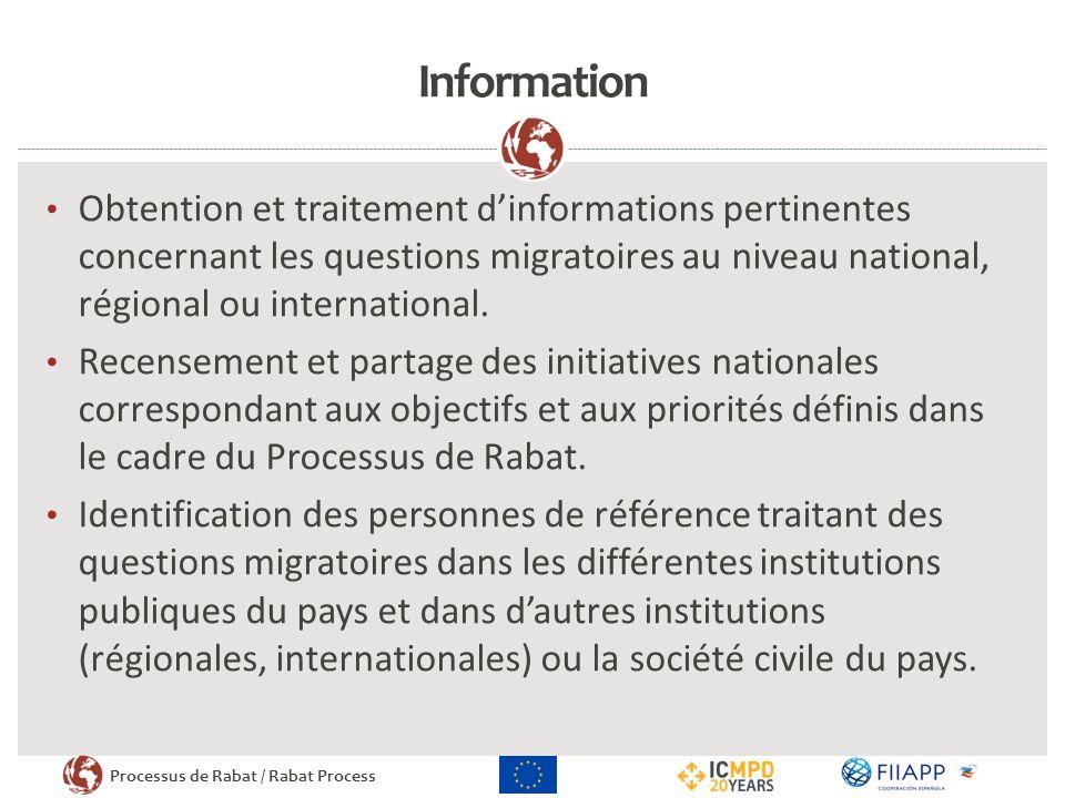 Processus de Rabat / Rabat Process Information Obtention et traitement dinformations pertinentes concernant les questions migratoires au niveau national, régional ou international.