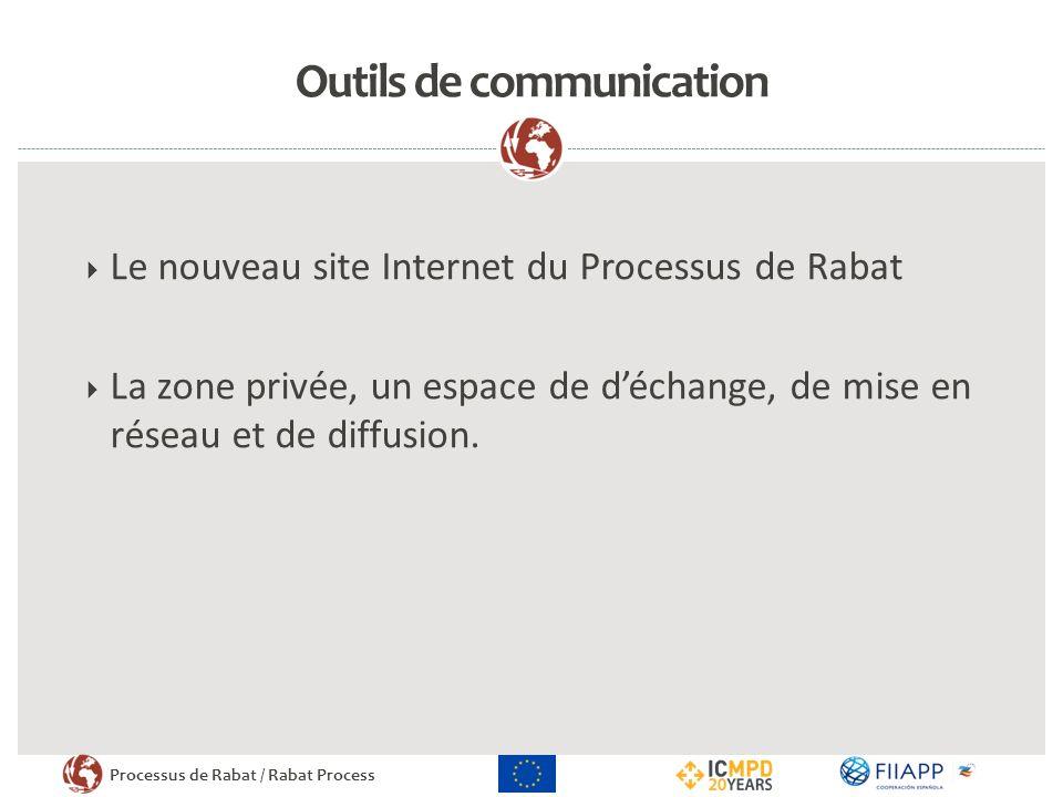 Processus de Rabat / Rabat Process Outils de communication Le nouveau site Internet du Processus de Rabat La zone privée, un espace de déchange, de mise en réseau et de diffusion.