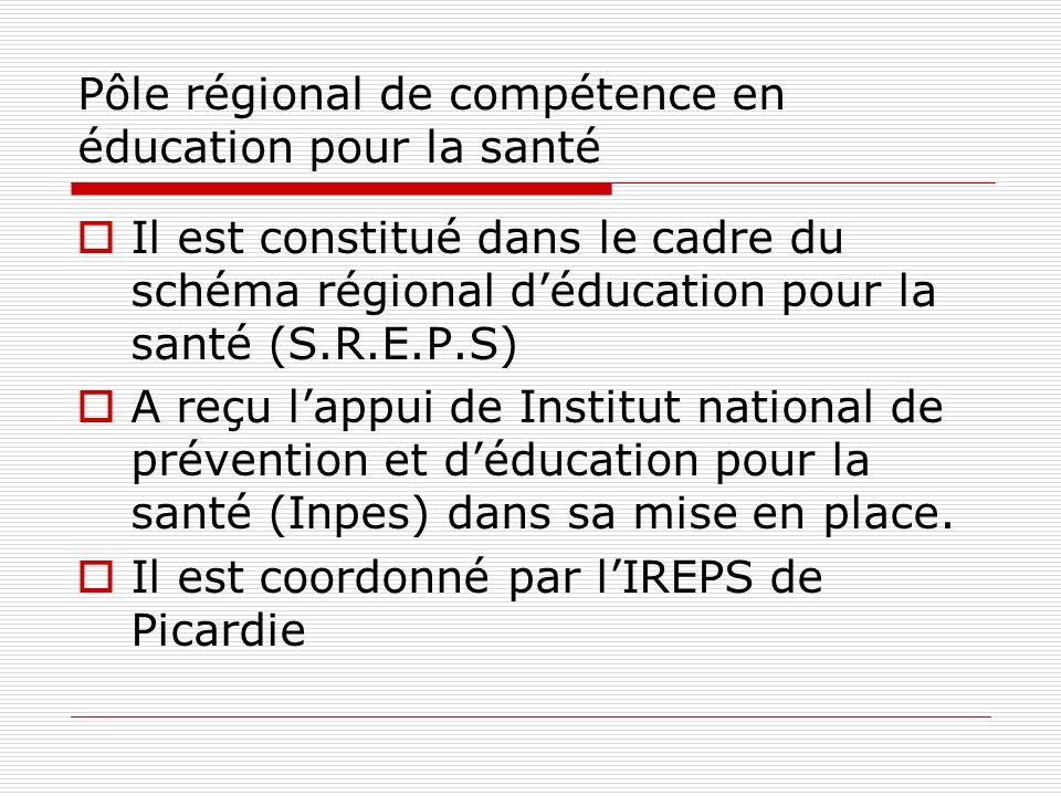 Il est constitué dans le cadre du schéma régional déducation pour la santé (S.R.E.P.S) A reçu lappui de Institut national de prévention et déducation pour la santé (Inpes) dans sa mise en place.