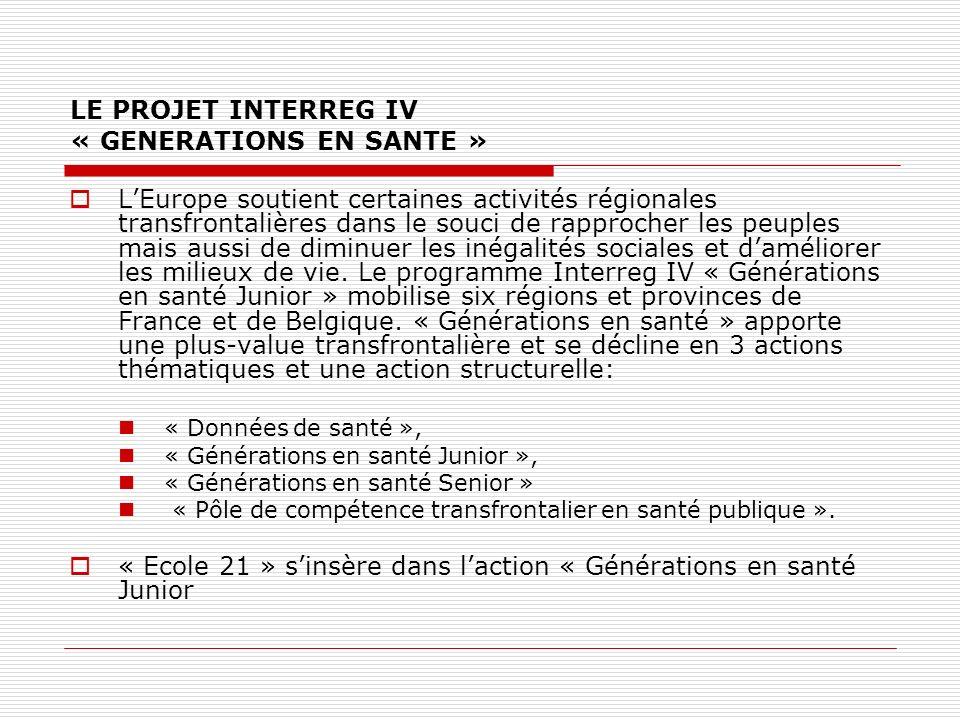 LE PROJET INTERREG IV « GENERATIONS EN SANTE » LEurope soutient certaines activités régionales transfrontalières dans le souci de rapprocher les peuples mais aussi de diminuer les inégalités sociales et daméliorer les milieux de vie.