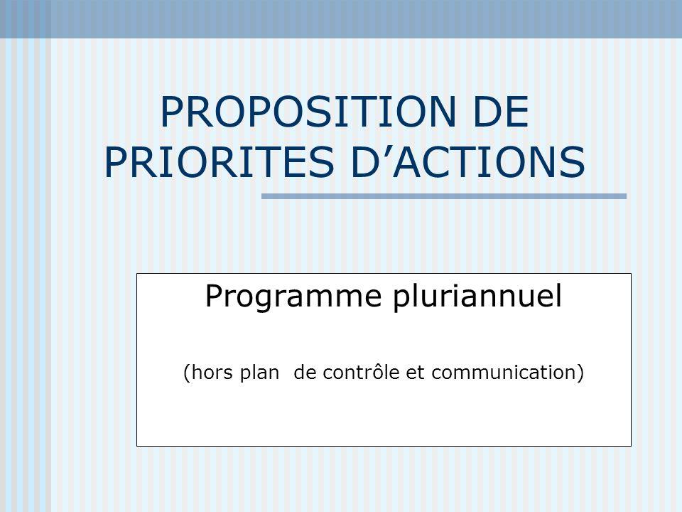 PROPOSITION DE PRIORITES DACTIONS Programme pluriannuel (hors plan de contrôle et communication)