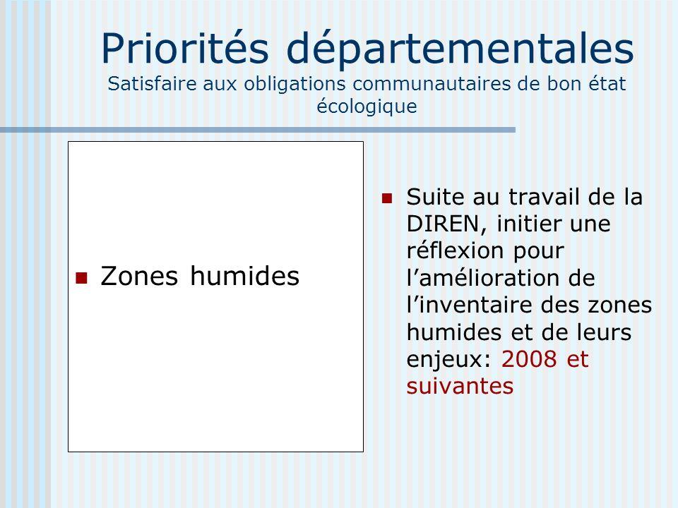 Priorités départementales Satisfaire aux obligations communautaires de bon état écologique Zones humides Suite au travail de la DIREN, initier une réflexion pour lamélioration de linventaire des zones humides et de leurs enjeux: 2008 et suivantes