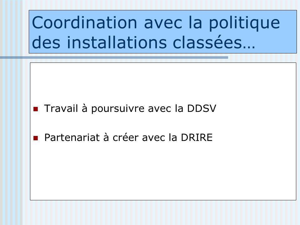 Coordination avec la politique des installations classées… Travail à poursuivre avec la DDSV Partenariat à créer avec la DRIRE
