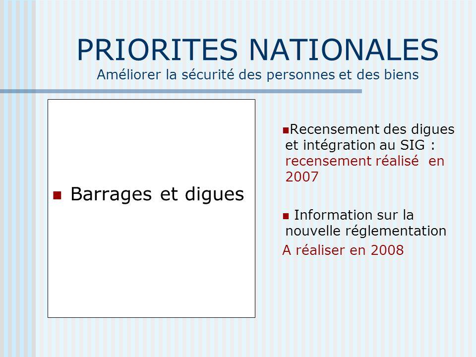 PRIORITES NATIONALES Améliorer la sécurité des personnes et des biens Barrages et digues Recensement des digues et intégration au SIG : recensement réalisé en 2007 Information sur la nouvelle réglementation A réaliser en 2008