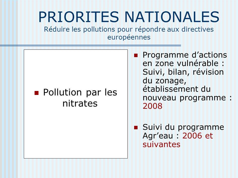 PRIORITES NATIONALES Réduire les pollutions pour répondre aux directives européennes Pollution par les nitrates Programme dactions en zone vulnérable : Suivi, bilan, révision du zonage, établissement du nouveau programme : 2008 Suivi du programme Agreau : 2006 et suivantes